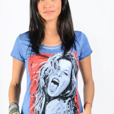 t shirt femme gisele bundchen dirty blue bleu