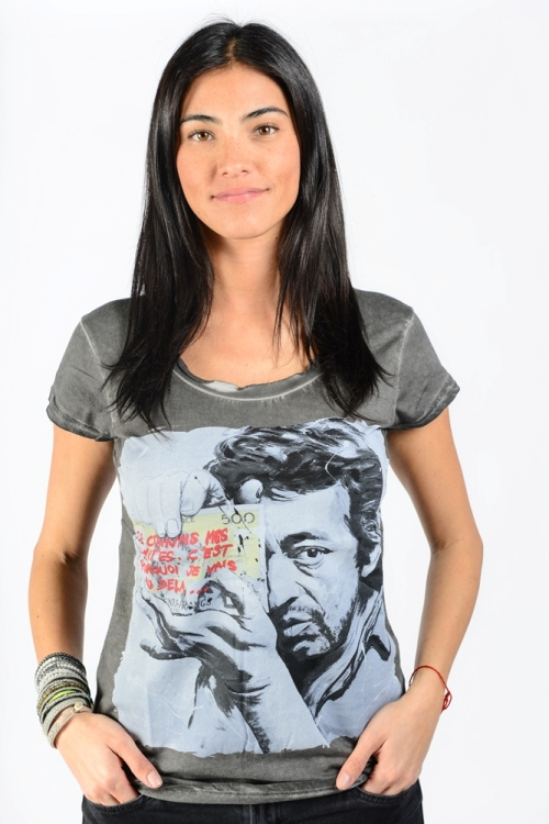 t shirt femme serge gainsbourg dirty grey gris fonce